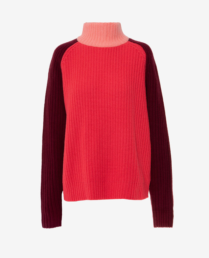 Turtle-neck jumper Red peony Cucito