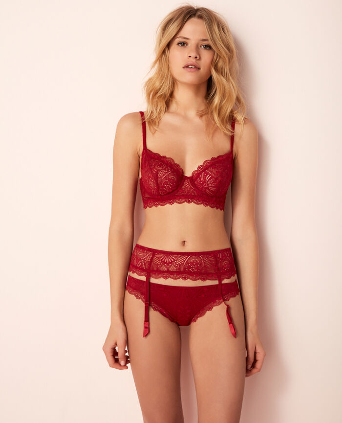 Suspender belt Goji red Love