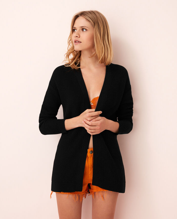 Long-sleeved cardigan Black Cachou