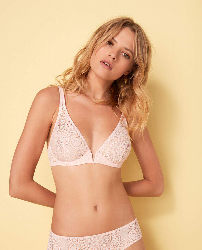 Underwired triangle bra Pink Evasion