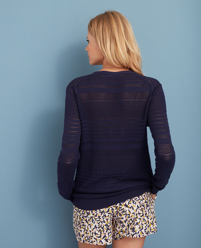 Long-sleeved cardigan Manhattan blue Poeme