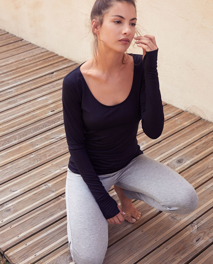 Sports long-sleeved t-shirt Black Yoga