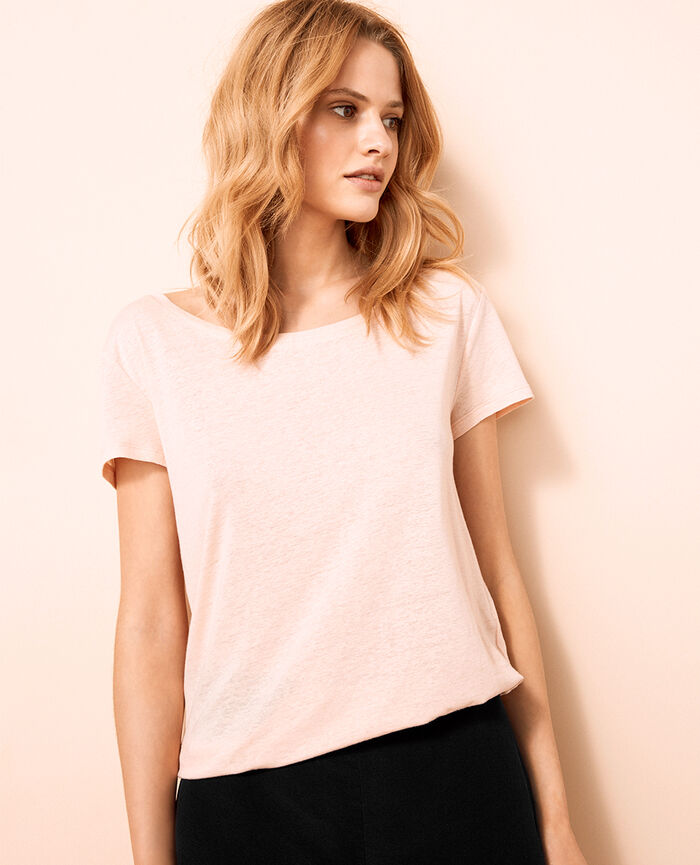 T-shirt with open neck Nude beige Ideal