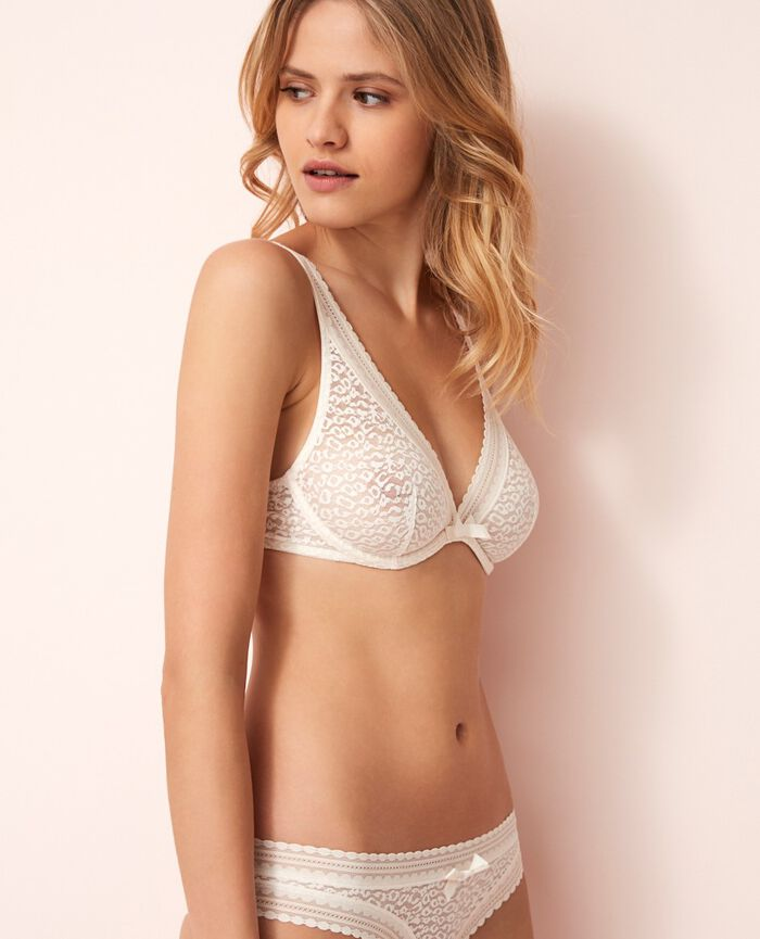 Underwired triangle bra Rose white Belle