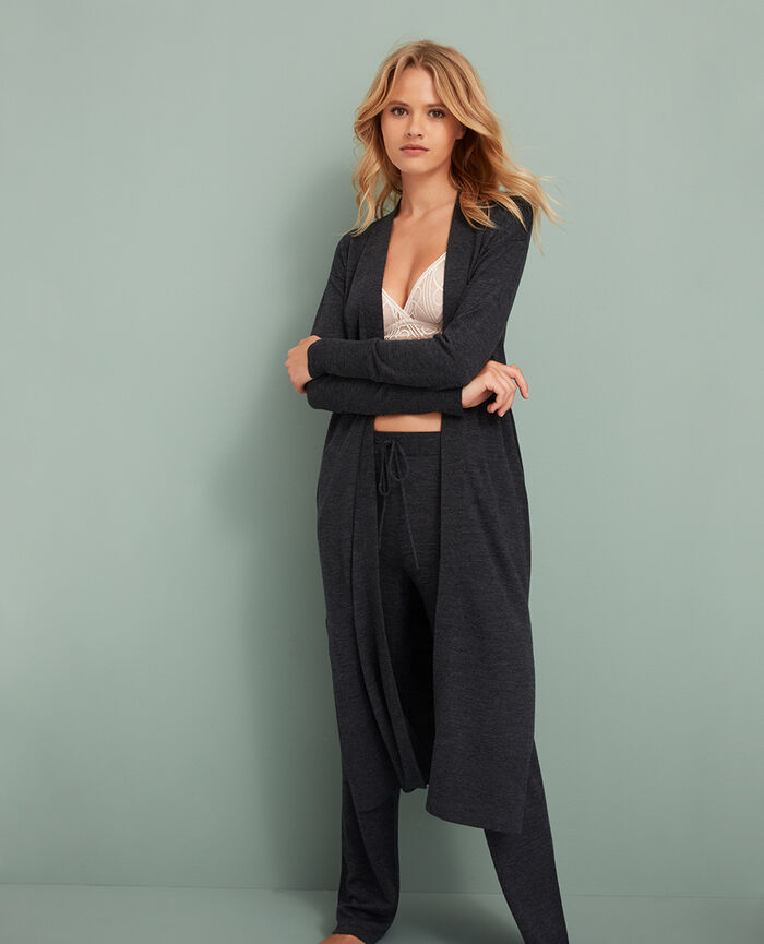 Long-sleeved cardigan Anthracite grey Extra