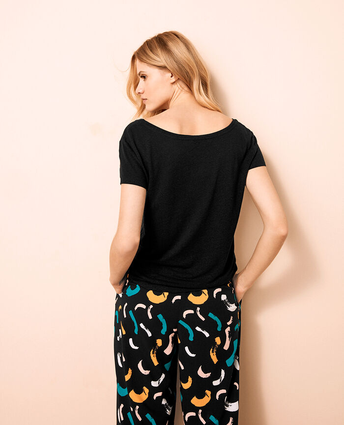 T-shirt with open neck Black Ideal