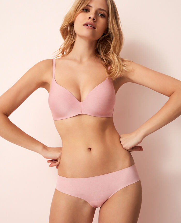 Soft moulded triangle bra Pink chiné Fantomette