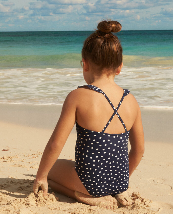Kid swimsuit Pois bleu marine Princesse tam.tam x uniqlo