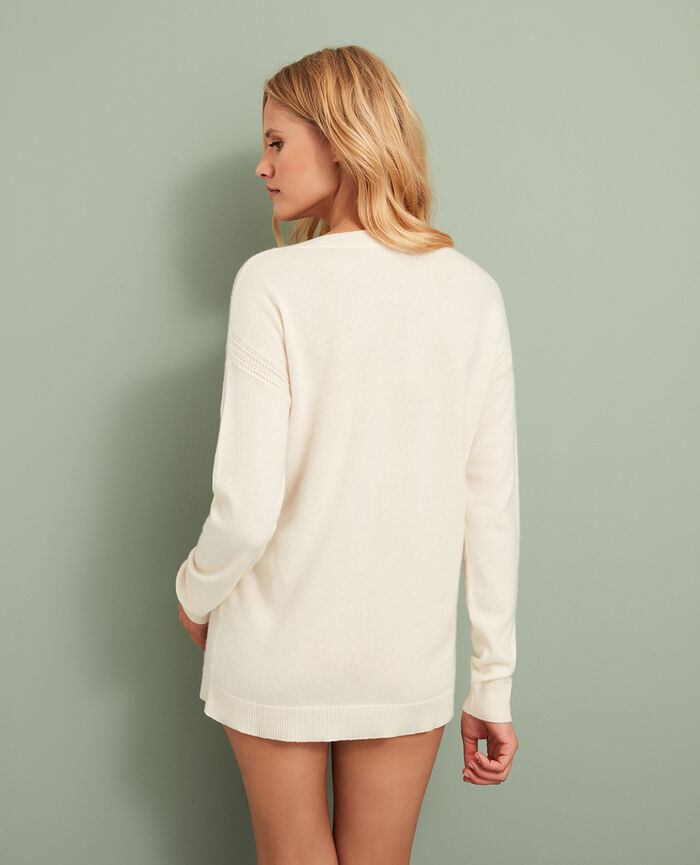 Pull col v Ivoire Cozy