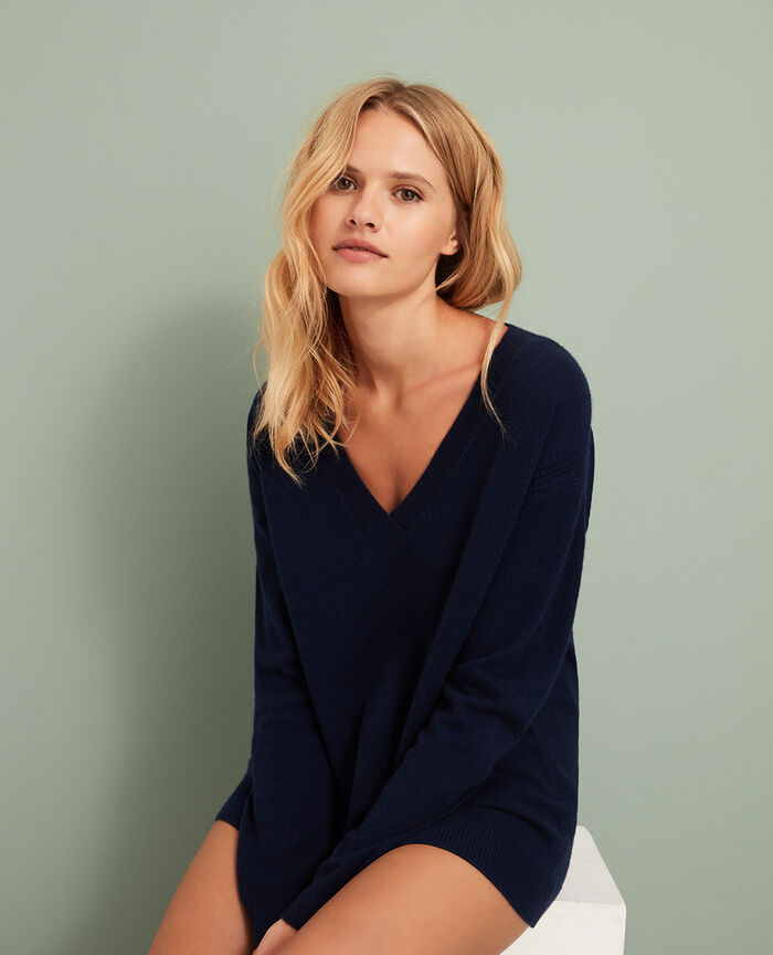 V-neck jumper Manhattan blue Cozy