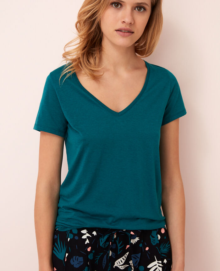 Short-sleeved top with v-neck Vert mezcal Latte