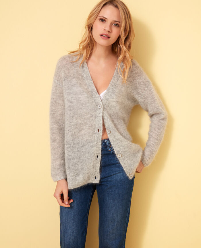 Long-sleeved cardigan Light grey Delicate