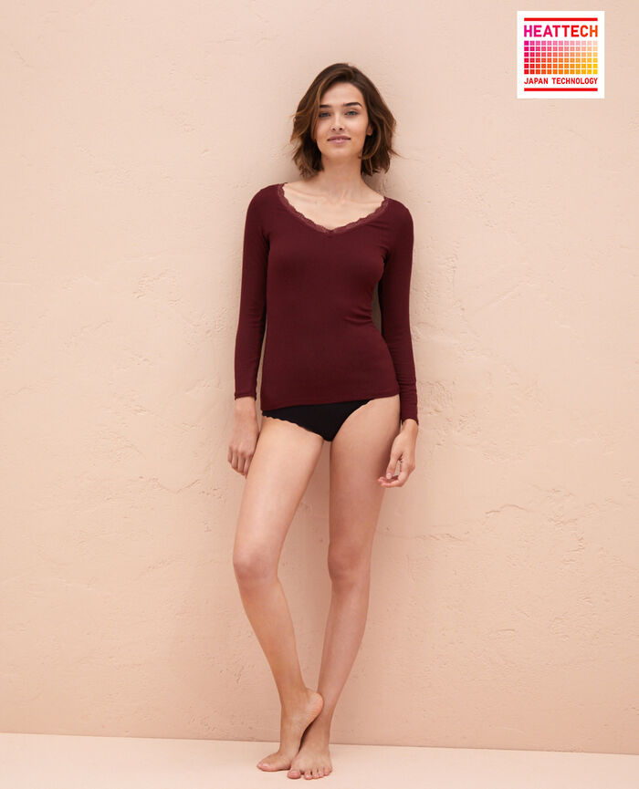 Long sleeved top Cassis red Lovely
