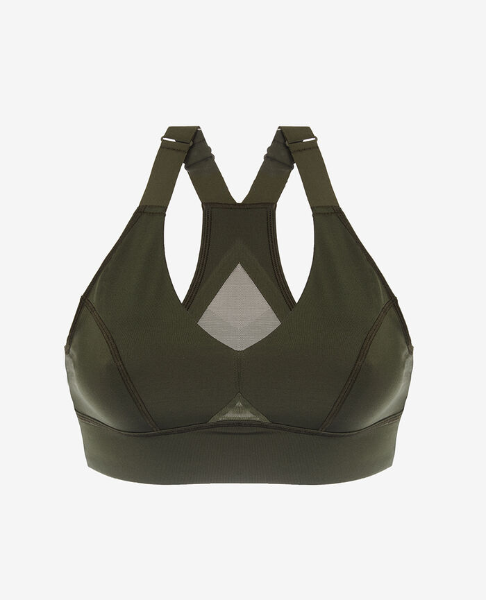 Brassière de sport maintien medium Vert mousse Run