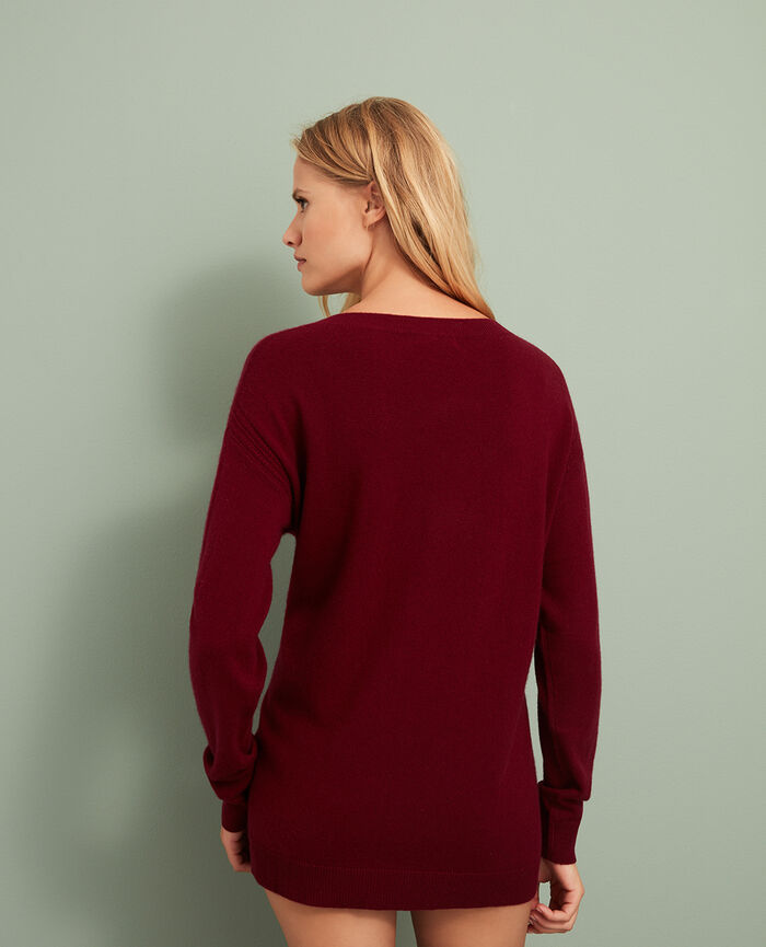 Pull col v Rouge cuir Cozy