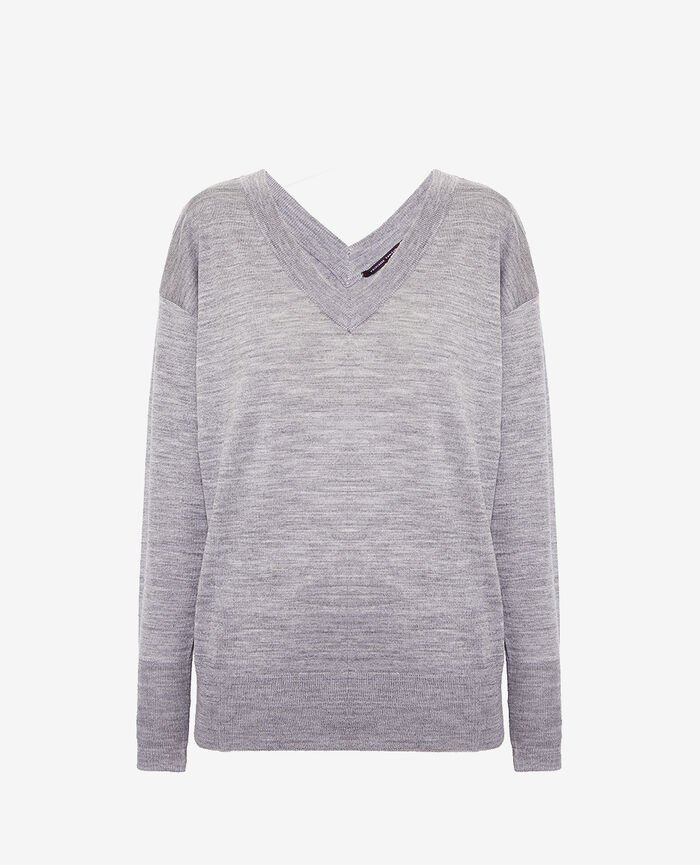 V-neck jumper Flecked grey Henri