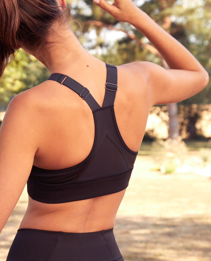 Brassière de sport maintien medium Noir Run