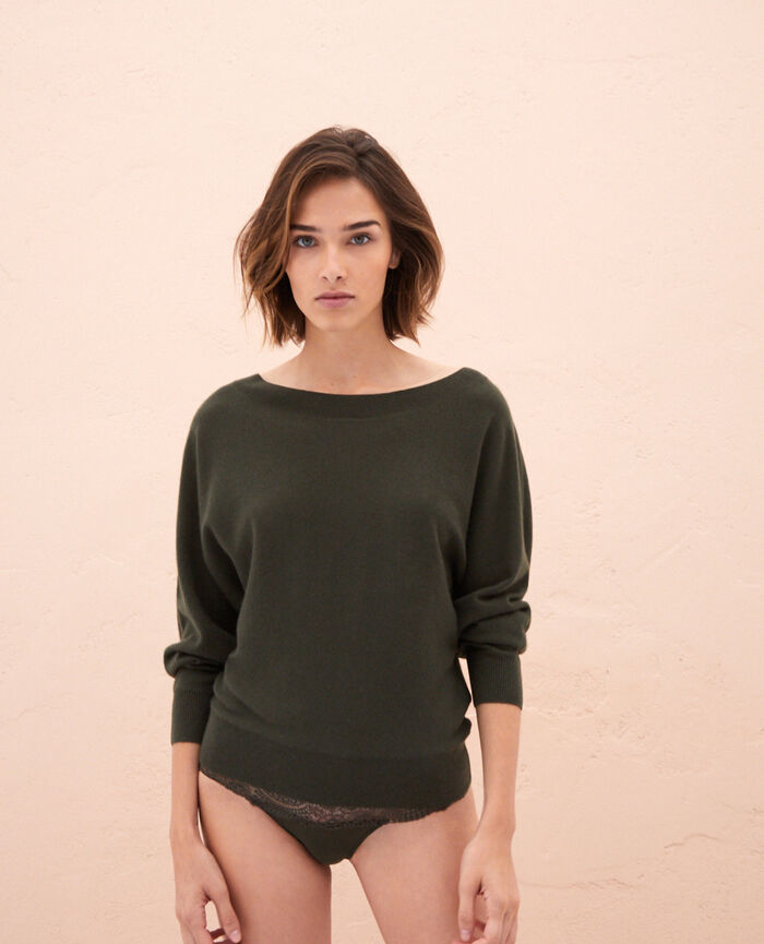 Boatneck jumper Moss green Icone