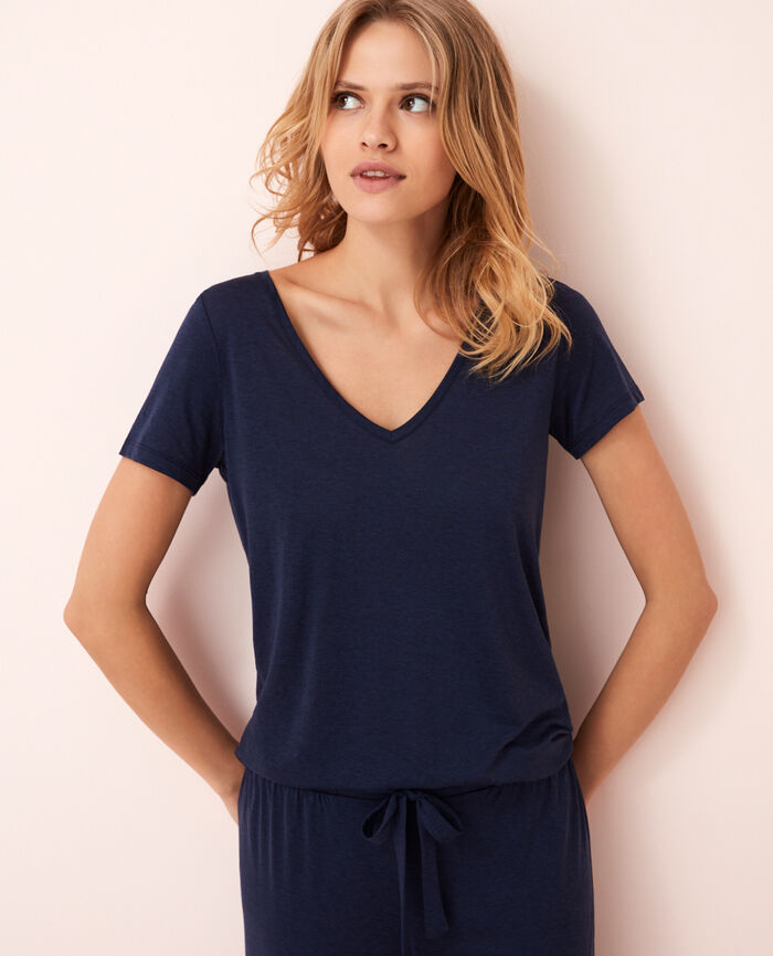 Short-sleeved top with v-neck Bleu marine Latte