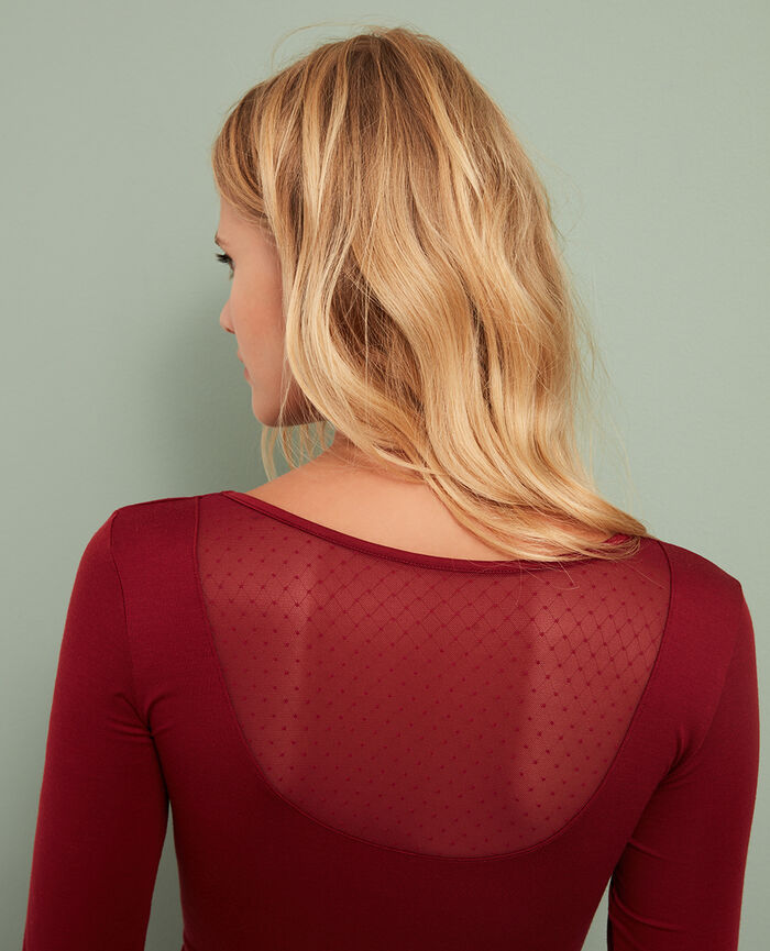7/8 sleeved top Leather red Innerwear