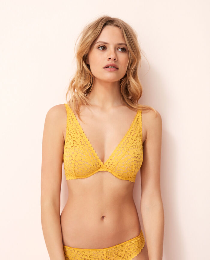 Underwired triangle bra Palm tree yellow Monica