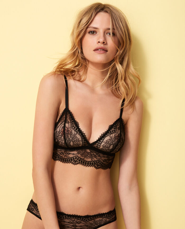 Soft cup bra Black Chantilly