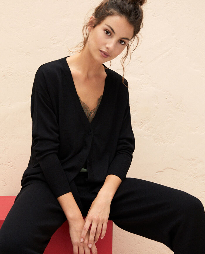 Long-sleeved cardigan Black Henri