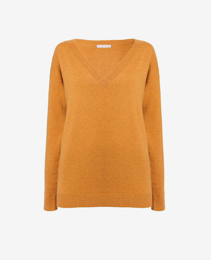 Pull col v Jaune taxi Cozy