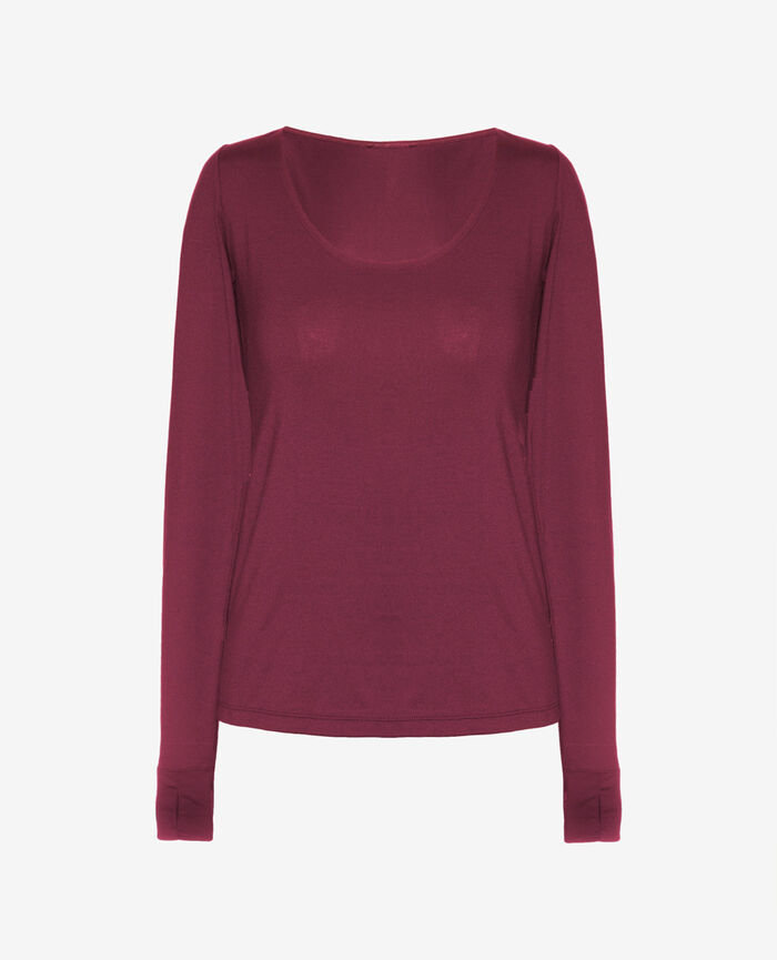 Sports long-sleeved t-shirt Cassis red Yoga