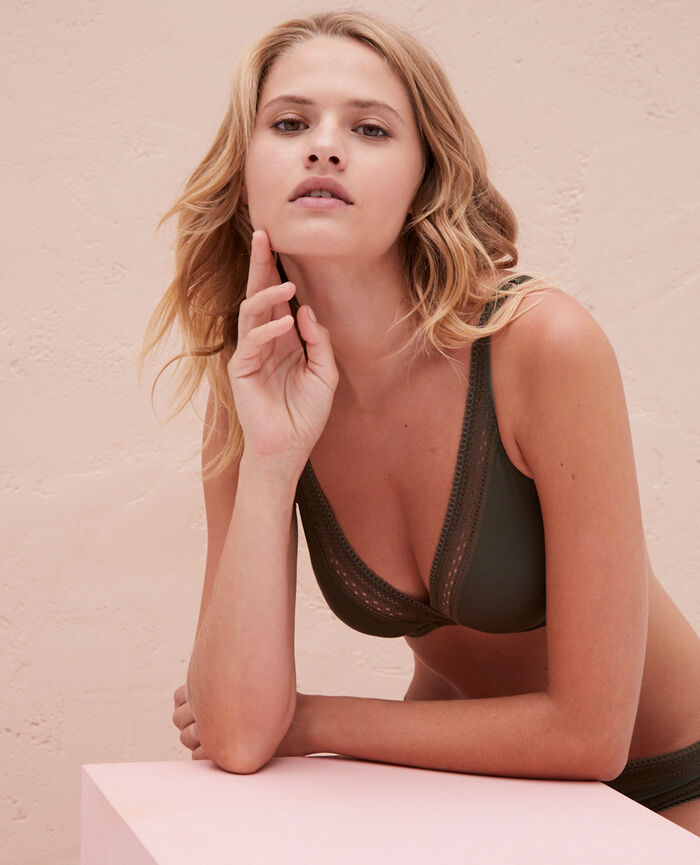 Underwired triangle bra Moss green Eclat