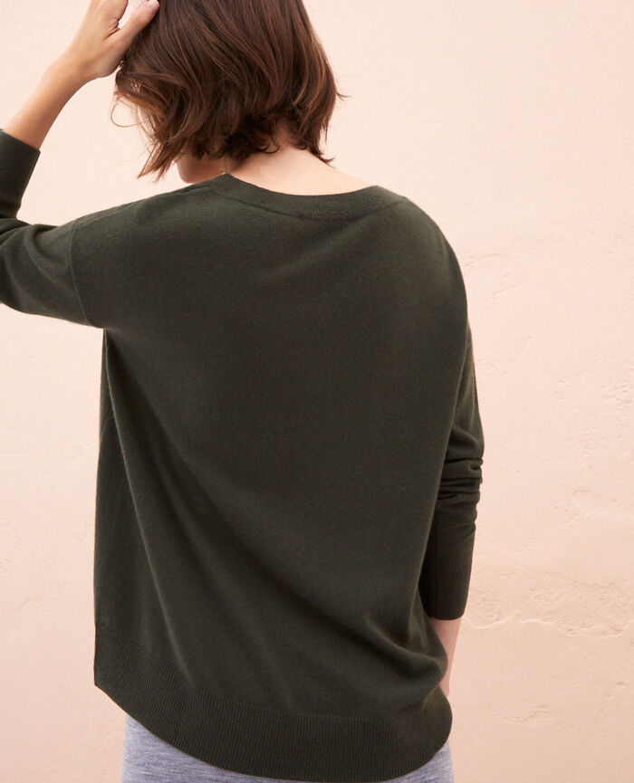 Pull col v Vert mousse Icone