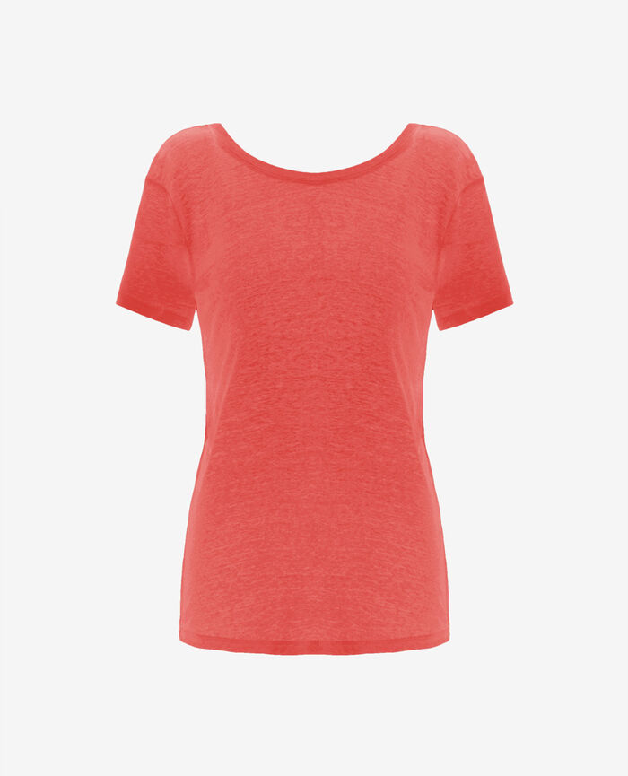 Short-sleeved open back t-shirt with v-neck Coral Elisa
