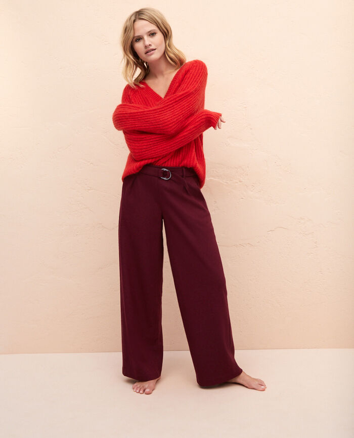 Wide pants Cassis red Perspective