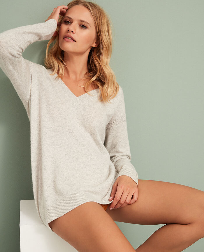 V-neck jumper Light grey Cozy