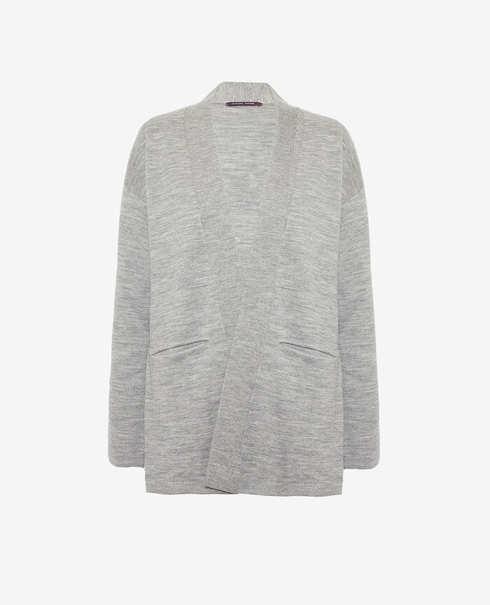 Long-sleeved cardigan Flecked grey Inspiration