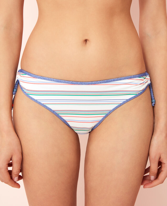 High-cut bikini briefs Stripes ivory Bella vita