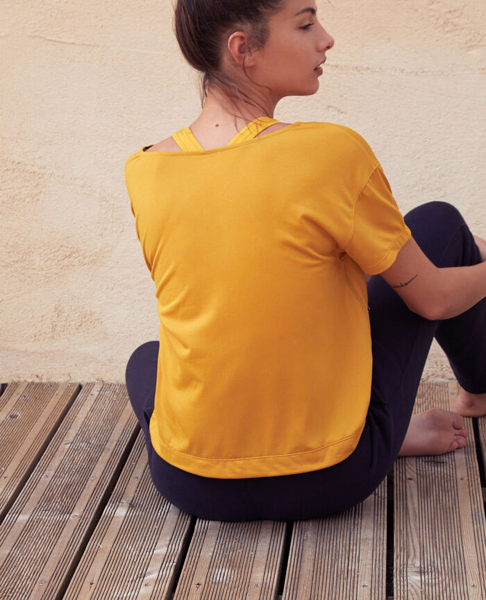 T-shirt de sport manches courtes Jaune d'or Yoga