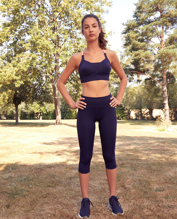 Legging de running court Bleu marine Run
