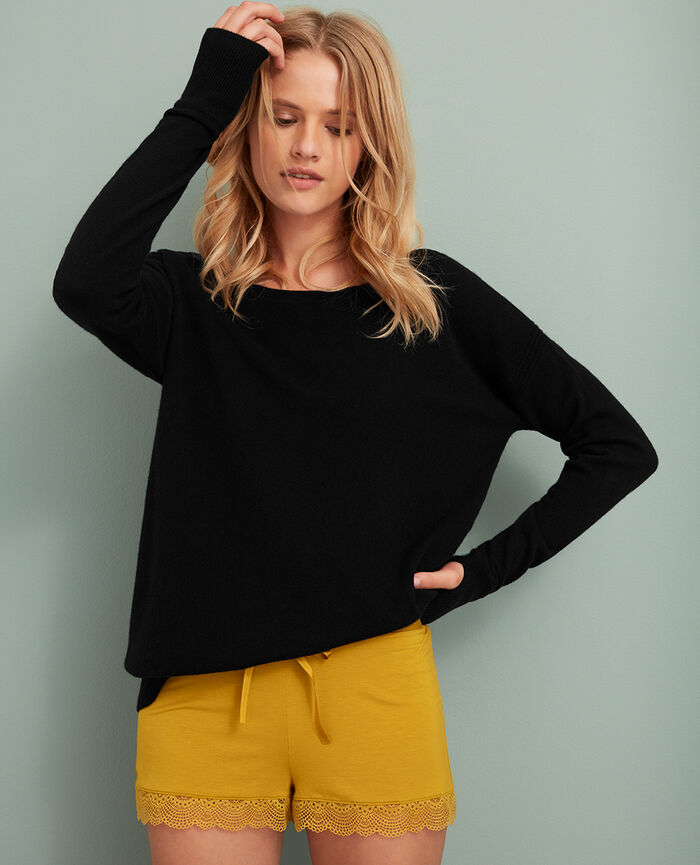 Boatneck jumper Black Cozy