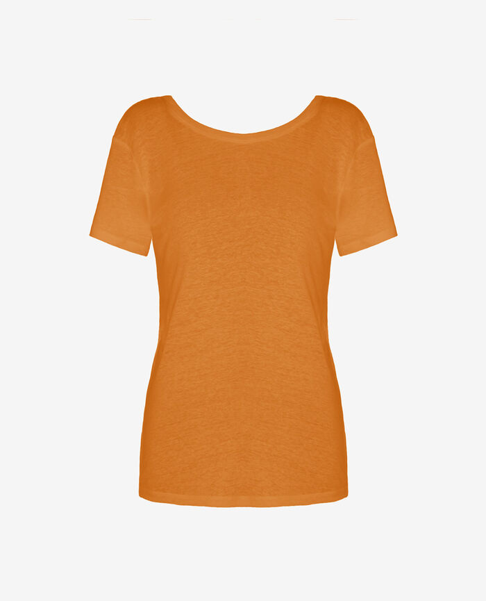 Short-sleeved open back t-shirt with v-neck Maya orange Elisa
