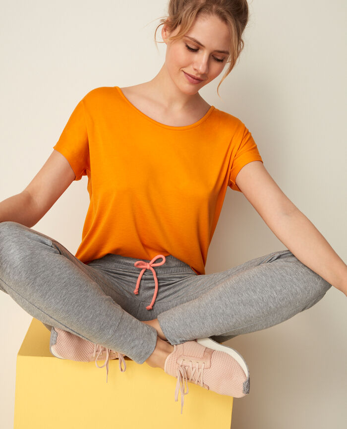T-shirt manches courtes de sport Orange maya Yoga