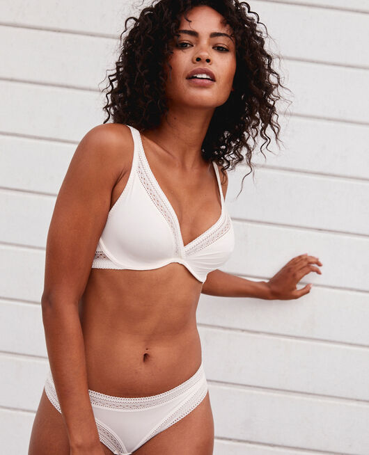 Underwired triangle bra Rose white Eclat