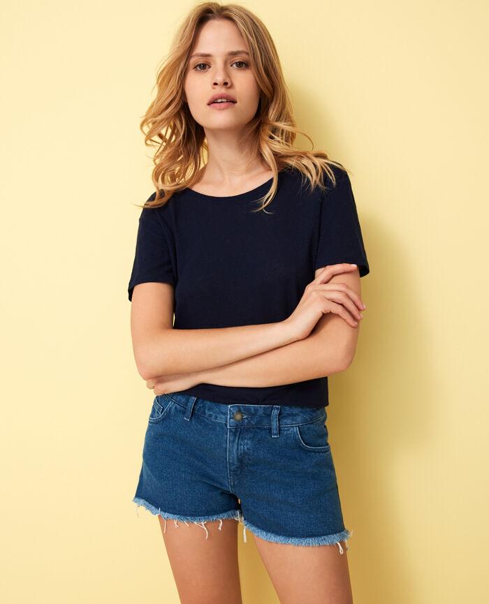 Short-sleeved open back t-shirt with v-neck Navy Elisa