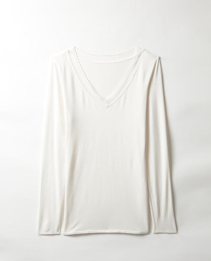 T-shirt manches longues Ivoire Heattech® bord dentelle