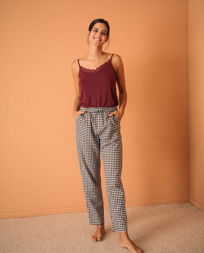 Trousers Black criss-cross Relax flanelle