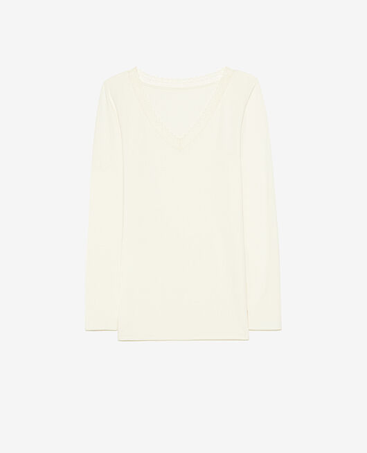 Long-sleeved t-shirt Cream white Heattech® extra warm