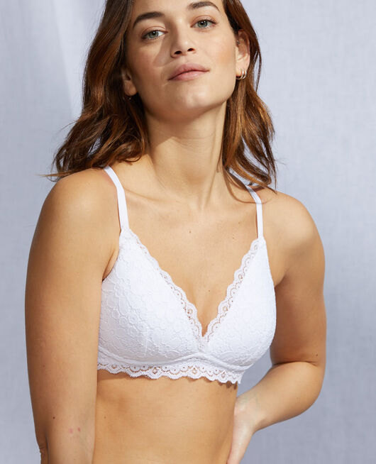 Soft cup padde bra White Paquerette