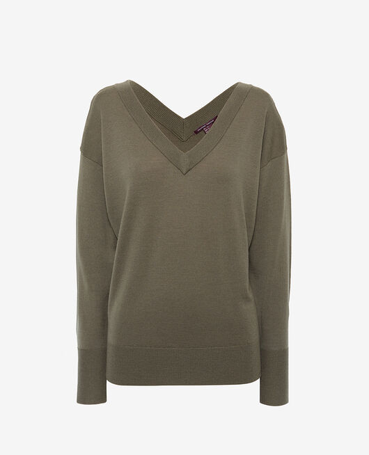 V-neck jumper Casbah green Henri
