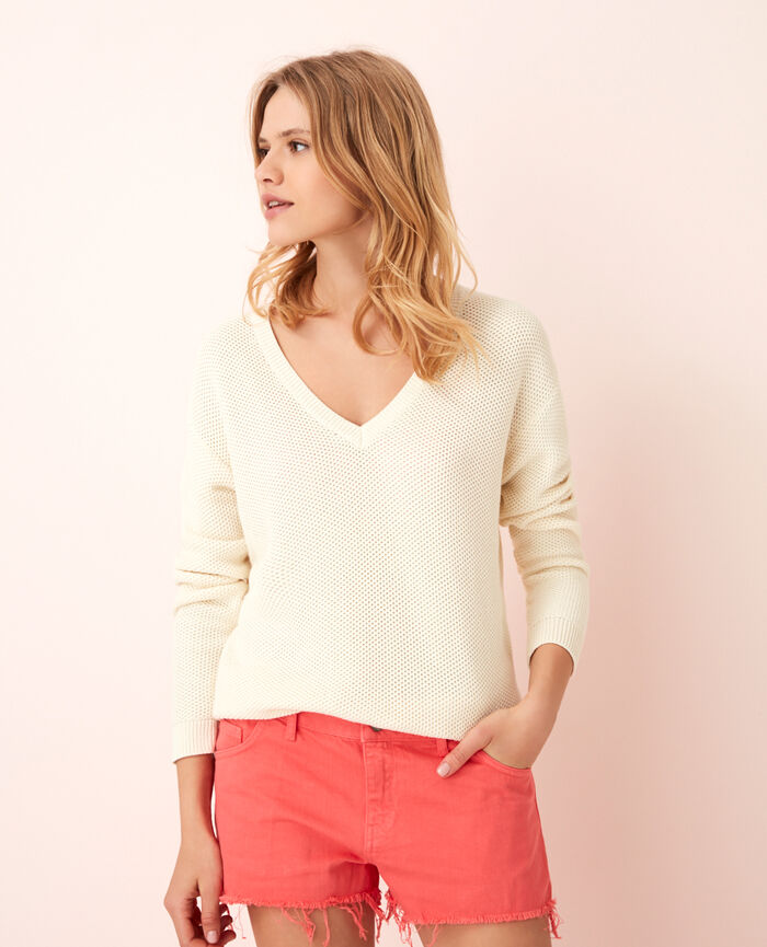 Pull col v Ivoire Cachou