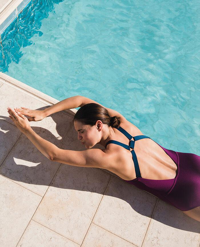 Maillot de bain une pièce de sport Violet sultan Dive